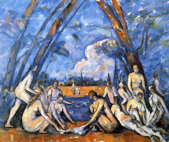 Les Grandes Baigneuses'  (The Bathers),  898-1905, first exhibited 1906. Oil on canvas. Largest of series of 'Bathers'. Paul Cezanne (1839-1906) French Post-Impressionist artist. nudo, Male Female Landscape River Blue