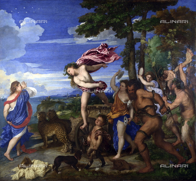 Bacchus and Ariadne', 1520-1523. Oil on canvas. Titian (c1473-576) Italian painter, l Italian Renaissance school. Ariadne deserted on Naxos, found by  Bacchus/Dionysius who marries her. Greek Roman Mythology