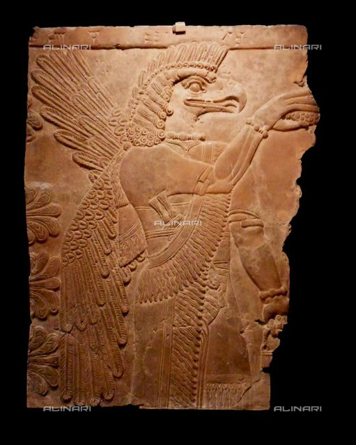 Assyrian Winged Genie A four-winged genie in the act of pollination. Relief from the north wall of the Palace of Ashur-nasir-pal II king of Assyria from 883 to 859 BC at Nimrud. Ashur-nasir-pal II succeeded his father, Tukulti-Ninurta II, in 884 BC.