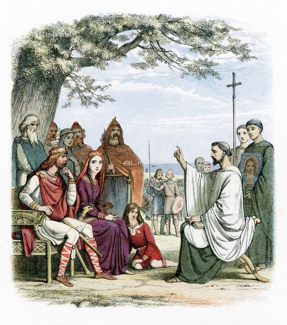 St Augustine of Canterbury (d604) preaching before Ethelbert (552?-616) Anglo-Saxon king of Kent whom he baptised in 597. Augustine was sent by Pope Gregory I to convert Anglo-Saxons to Christianity. First Archbishop of Canterbury. Colour-printed wood engraving, London, 1864.