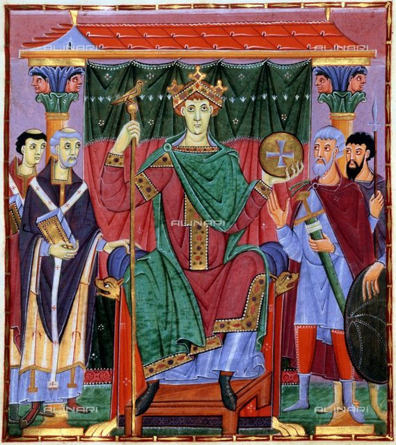 Coronation of Otto III, German king, c998. Otto (980-1002), wearing a crown and holding an orb and sceptre, is flanked on the left of picture by representatives of the church and on the right by secular advisors. The fourth ruler of the Saxon dynasty, Otto III (980-1002) was elected king in 983 when only 3 years old, after the death of his father, the Holy Roman Emperor Otto II. Otto reached his majority in 894, and was crowned Holy Roman Emperor in 996, by Pope Gregory V, the first German Pope, whose appointment Otto had engineered. Bayerische Staatbibliothek, Munich