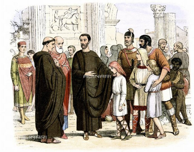 Gregory I the Great (c540-604).  Pope from 590, seeing English slave children in Rome,  is reputed to have said 'These are Angels, not Angles'.  Sent St Augustine (d604) and 40 monks to England in 596 to convert Anglo-Saxons to Christianity.  Colour printed wood engraving c1860,