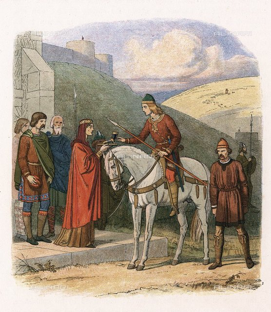 Edward (Eadward) the Martyr (963-978) English king from 975, at Corfe, offered poisoned drink by his stepmother Aelfthryth. Anglo-Saxon. Colour-printed wood engraving c1860.