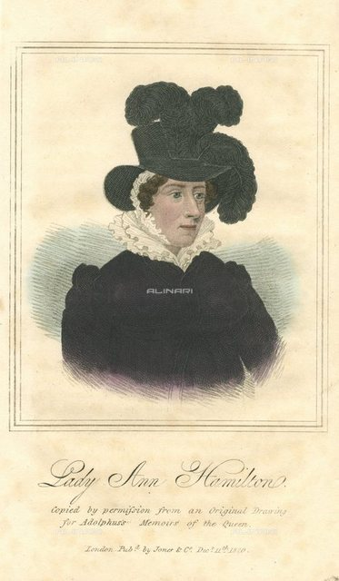 Lady Anne Hamilton (776-1846) Lady-in-waiting to Queen Caroline, wife of George IV of England. Hand-coloured engraving,1820