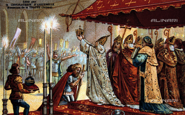 Coronation of Charlemagne.  Charlemagne (742-814) King of the Franks from 768 and Holy Roman Emperor from 800. France Royalty  Nineteenth century Trade Card Chromolithograph