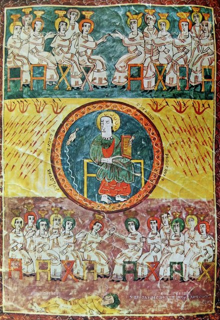 The opening of the seventh seal, miniature, illustration of the Remembrance of the Blessed Virgin of Liebana (730 ca.-798), manuscript, Spain