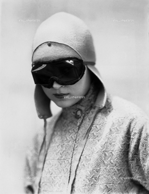 Portrait of Wanda Wulz in motorcyclist's gear