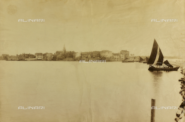 View of Umag with sailboat, Istria