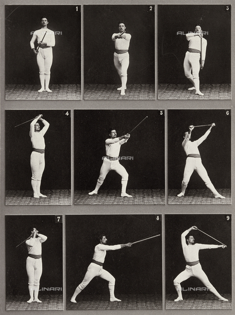 """Jager Exercises"". A succession of physical exercises using a staff"