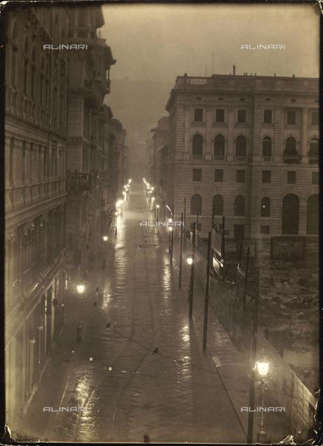 Via S. Antonio (now Via Dante) on a foggy day, Trieste