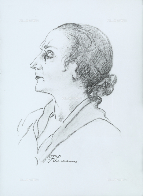 Portrait of Delia Benco, drawing, Pietro Lucano