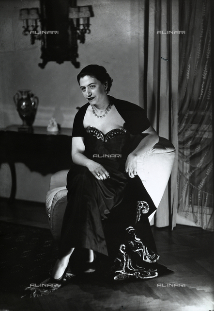 Portrait of Mrs. Trakakis in an evening dress