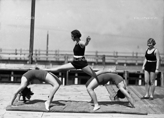 Three women exercising