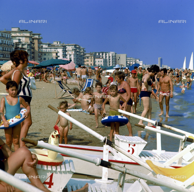 The beach of Iesolo crowded with bathers