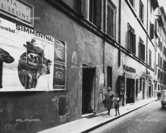 Street scene, view of Via del Leone, Rome