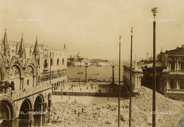 A pile of rubble of the bell tower in Piazza San Marco in Venice