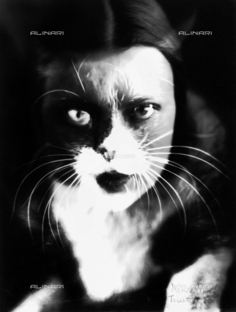 """Io + gatto"" (""Cat and I""): a superimposition of Wanda Wulz's face and the image of her cat"